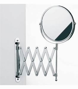 miroir mural grossissant x5 double face sur bras With miroir salle de bain grossissant mural