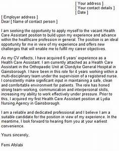 health care assistant cover letter sample With health care assistant cover letter examples