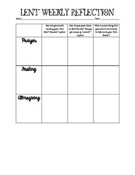 weekly lent reflection worksheet by kristi peters tpt