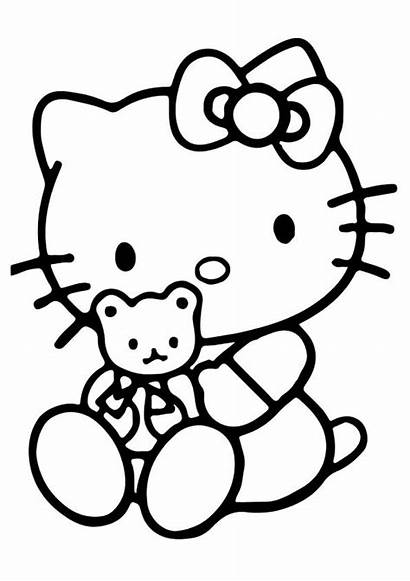Kitty Hello Coloring Pages Teddy Colouring Bear