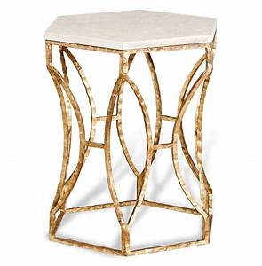 Roja Antique Gold Leaf Cream Marble Hexagonal Side Table