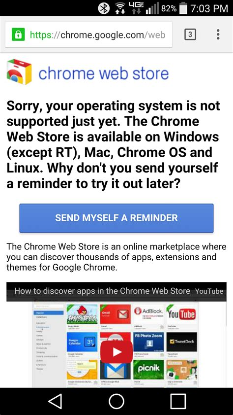 Chrome Mobile Extensions says mobile chrome browser not getting support for