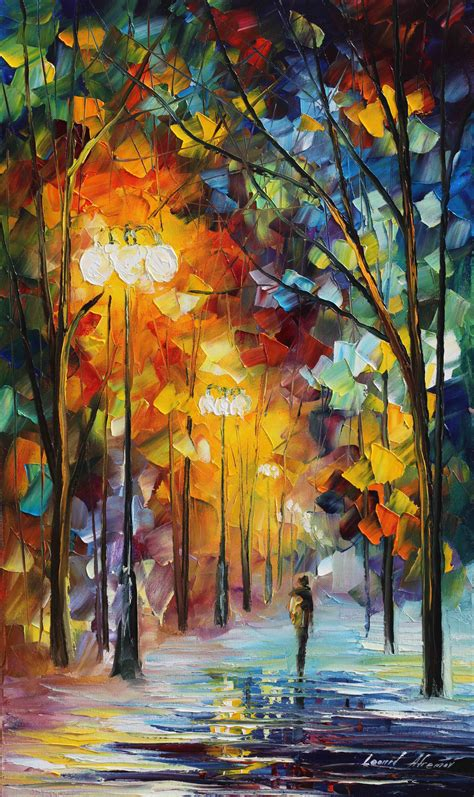 winter movement palette knife oil painting  canvas