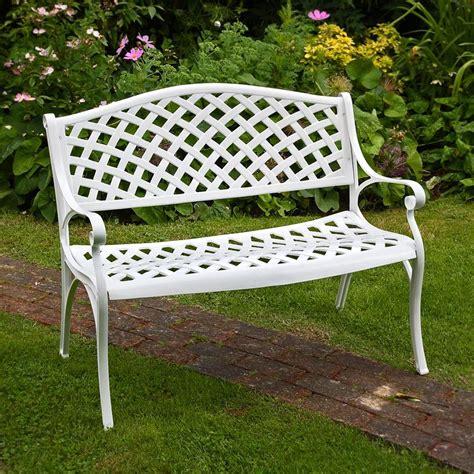 white metal garden weave bench metal garden