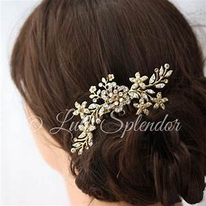Gold Bridal Hair Comb Sparkly Crystal Flower Comb Ivory