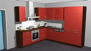 Rote Arbeitsplatte Küche : kitchenclick musterk che hochgl nzende rote k che in l form ausstellungsk che in von ~ Sanjose-hotels-ca.com Haus und Dekorationen