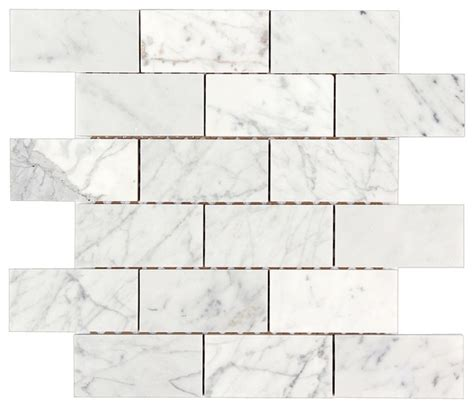 marble brick tiles bianco carrara 2x4 polished marble brick mosaic tile traditional tile by all marble tiles