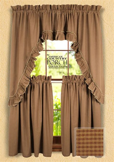 Cottage Brown Minicheck Ruffled Window Curtain Swags