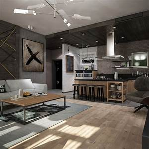 Awesome, New, York, Style, Apartment, Interior, Design, With, Open, Plan, Concept
