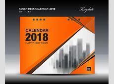Orange desk calendar 2018 cover template vector 02 free