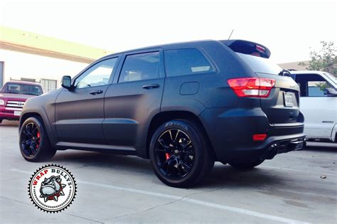 matte brown jeep jeep srt8 wrapped in 3m deep matte black vehicle wrap