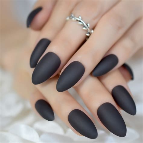 Rubber Touch Matte Fake Nails Dark Grey Almond Fake Nail