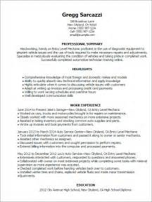 entry level automotive technician resume sles professional entry level mechanic templates to showcase your talent myperfectresume