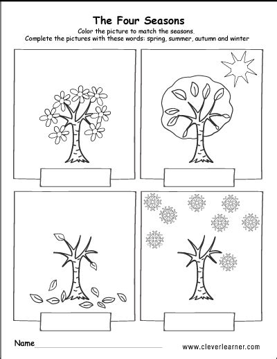 spring summer fall and winter free worksheets for