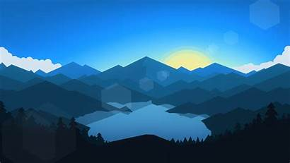 Sunset Mountains Forest Minimalism Cool Wallpapers Weather