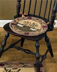new country primitive sheep willow tree wool hooked rug chair pad seat cushion ebay