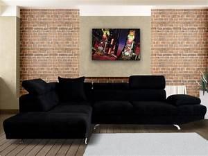 Canapé D Angle Xl : canap d 39 angle xl en tissu noir ou beige romain ~ Teatrodelosmanantiales.com Idées de Décoration