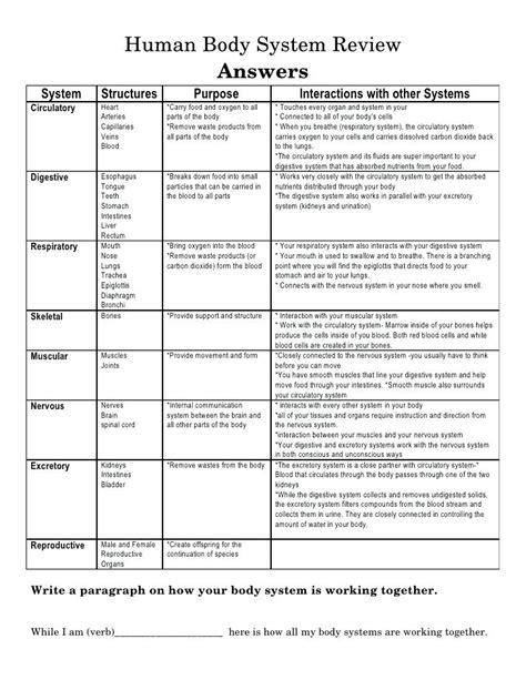 Human Body System Chart Organs Worksheets 11 Organ Systems Of The Worksheet Albertcowardco