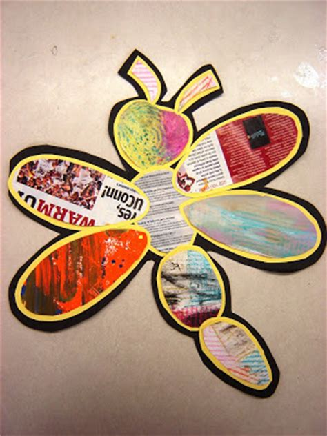 recycled paper daisies dragonfly art project teach junkie