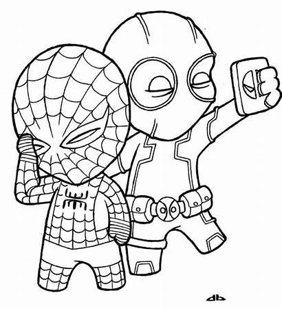 Random Cartoon Drawings Coloring Pages Deadpool Superhero