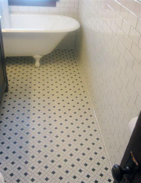 mosaic floor tile  clawfoot tub classic  simple