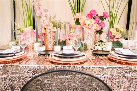modern glam black rose gold wedding ideas