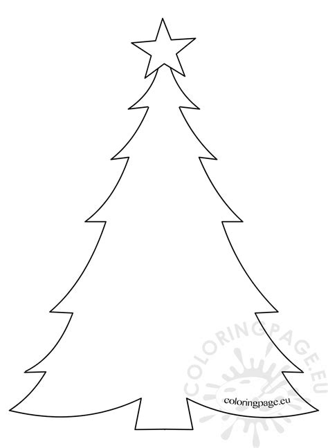template christmas tree  star coloring page