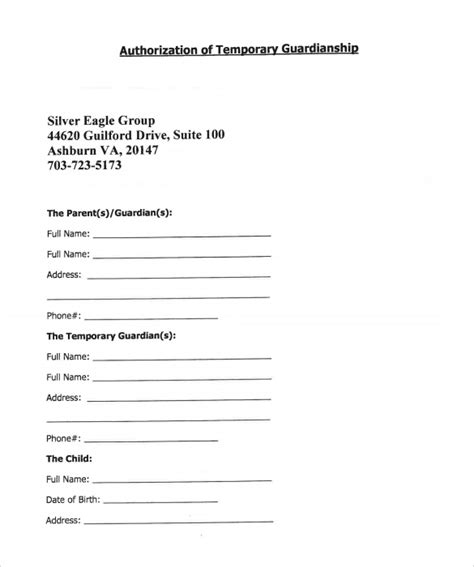 temporary custody form sle temporary guardianship form 9 download documents in pdf word