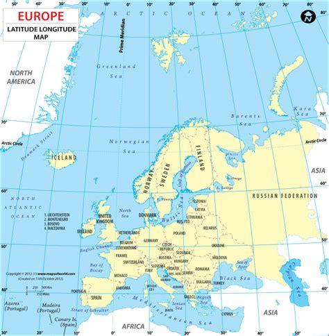 Europe Latitude And Longitude Map, Lat Long Maps Of