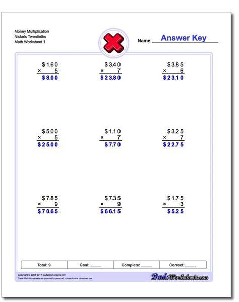 money multiplication worksheets money multiplication