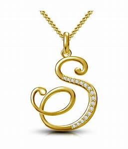 vorra fashion 14k gold plated 925 sterling silver With s letter gold pendant