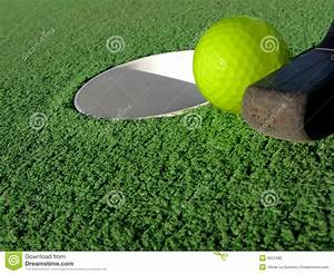 Miniature Golf Ball And Putt Near Hole Stock Photo - Image ...