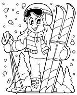 Coloring Skiing Ski Clipart Pages Vector Sheet Winter Snow Skis Theme Children Illustration Woman Topcoloringpages Cartoon Sports Helmet Skateboard Scarf sketch template
