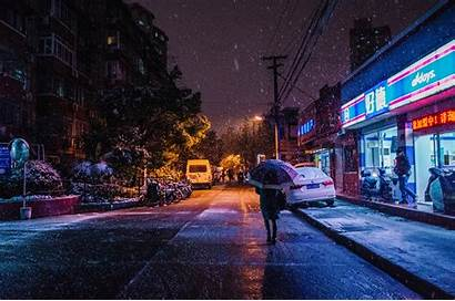 4k Night Street Snow Nature 5k Winter