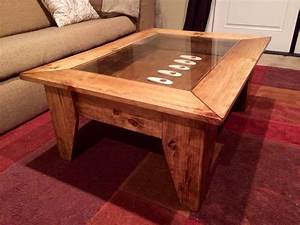 Custom coffee table with hinged lift top to by jermcreationz for Custom coffee table tops