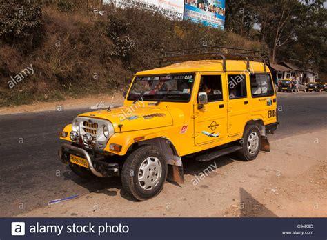 indian jeep mahindra india meghalaya shillong local transport yellow