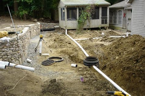 grading backyard drainage landscape drainage and grading new england enterprises