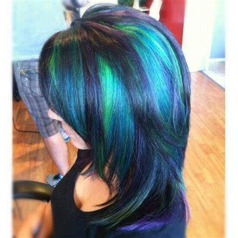 Peacock Highlights Crazy Hair Color Pinterest
