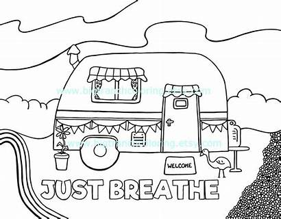 Coloring Colouring Adult Camper Printable Pages Retro