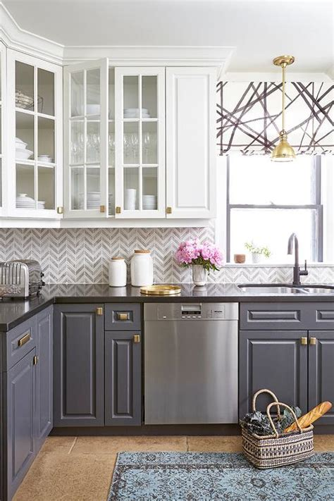 white upper cabinets grey lower bete abode interior style everyday fun 262 | glass front upper cabinets gray lower cabinets black white roman shade