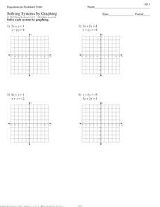 Equations in Standard Form - Solving Systems by Graphing