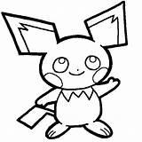 Pichu Coloring Drawing Raichu Pikachu Pages Getdrawings Luna Colorluna sketch template