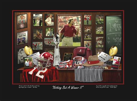 head coach nick saban university  alabama artwork art print