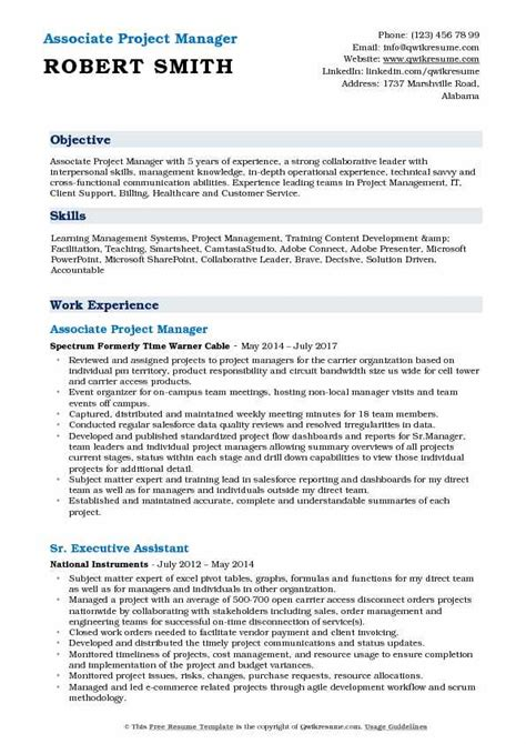 Project Manager Sle Resume Format by Associate Project Manager Resume Sles Qwikresume