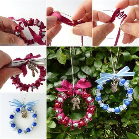 Wonderful DIY Bead and Ribbon Wreath Ornament for Christmas