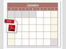 Calendário PDF Calendário PDF Grátis Em branco Clique