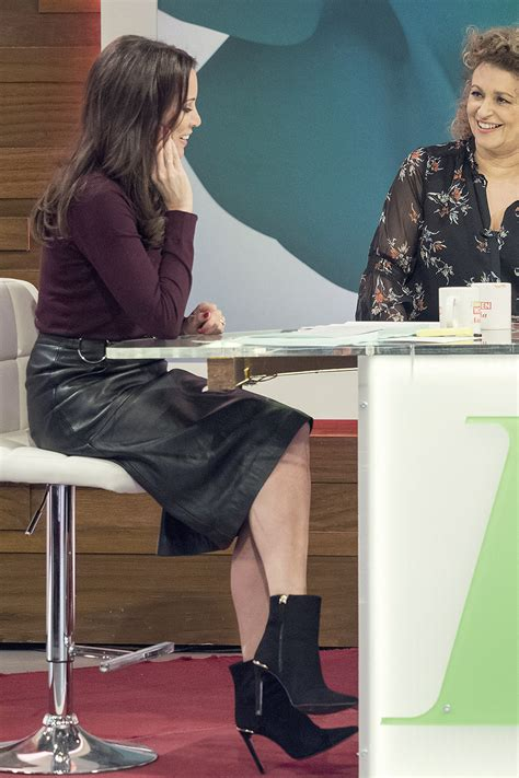 andrea mclean attends loose women tv show leather