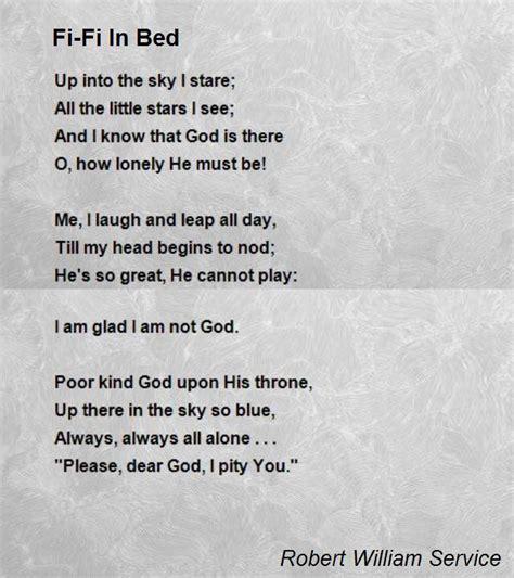 fi fi  bed poem  robert william service poem hunter