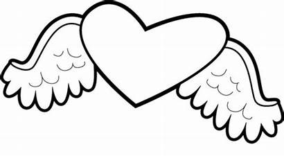 Wings Coloring Hearts Pages Heart Clipart Valentine