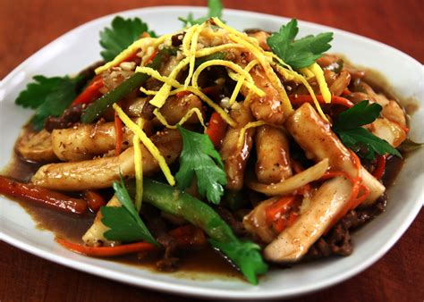 korean royal court stir fried rice cakes gungjung